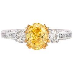 Vivid Yellow Internally Flawless Diamond Platinum 3-Stone Tacori Engagement Ring