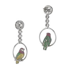 Vivid Yellow White Black Diamond Ruby Emerald 18 Karat Gold Birds Drop Earrings
