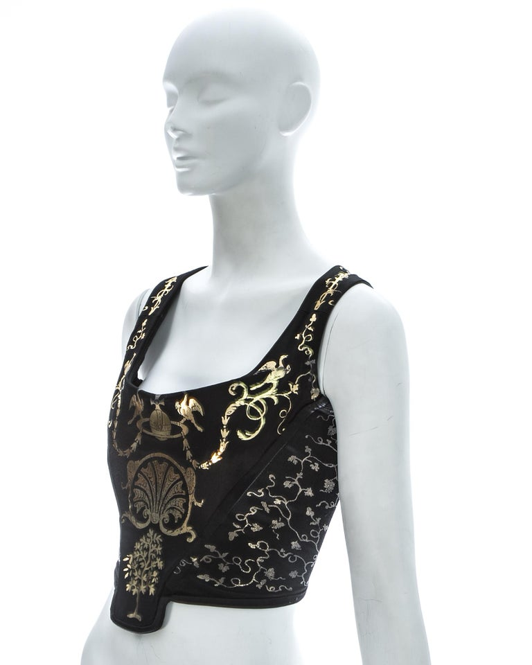 Black Viviene Westwood black satin corset with metallic gold motifs, ca. 1990 For Sale