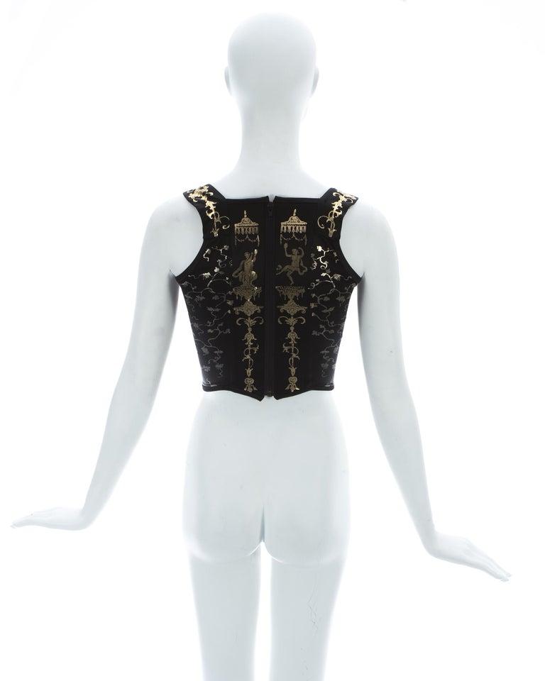 Women's Viviene Westwood black satin corset with metallic gold motifs, ca. 1990 For Sale