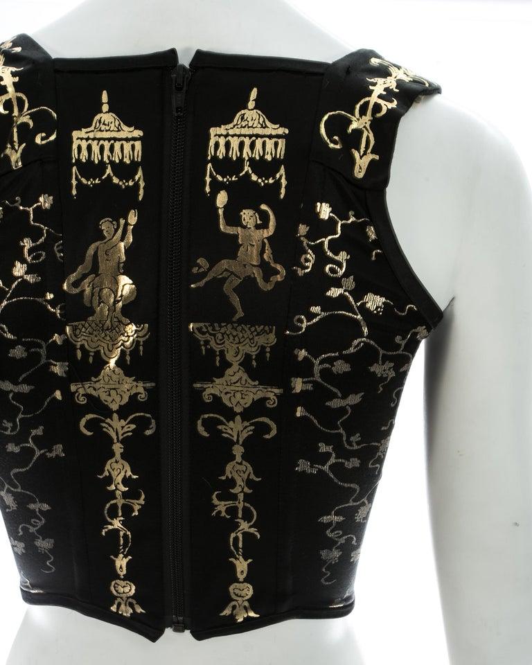 Viviene Westwood black satin corset with metallic gold motifs, ca. 1990 For Sale 1