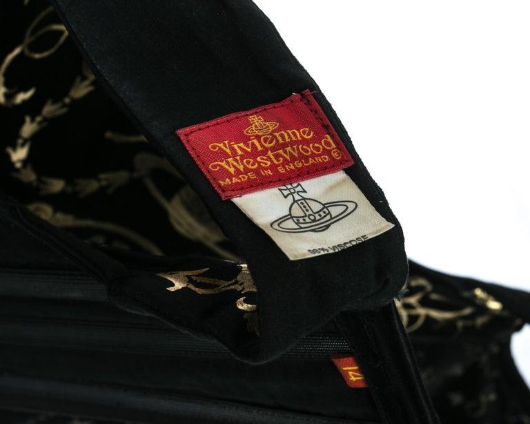 Viviene Westwood black satin corset with metallic gold motifs, ca. 1990 For Sale 2