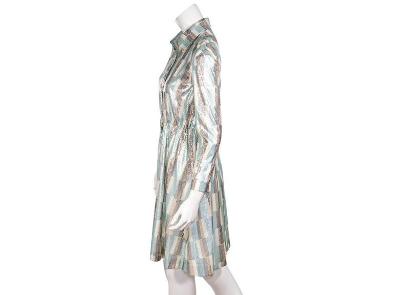 Product details:  Multicolor sequined shirtdress by Vivienne Hu.  Spread collar.  Long sleeves.  Button-front closure.  36