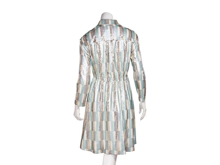 Vivienne Hu Multicolor Sequined Shirtdress In Good Condition For Sale In New York, NY