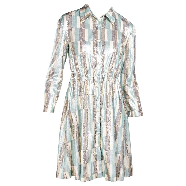 Vivienne Hu Multicolor Sequined Shirtdress For Sale