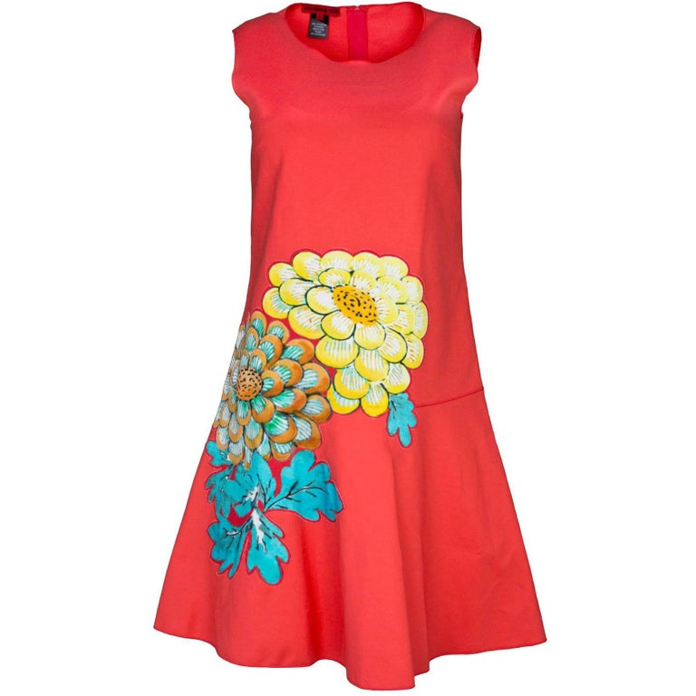 Vivienne Tam Coral Sleeveless Flower Applique Dress Sz 0
