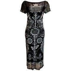 Vivienne Tam Vintage Black & White Floral Bird Print Dress with under Slip 1990s