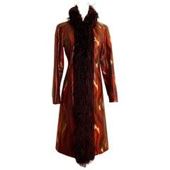Vivienne Tam Vintage Flame Print Faux Snakeskin & Faux Fur Long Coat, 1990s