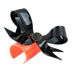 Vivienne Westwood 1999  Runway Prototype Black Orange Acrylic Bow Cuff Bracelet