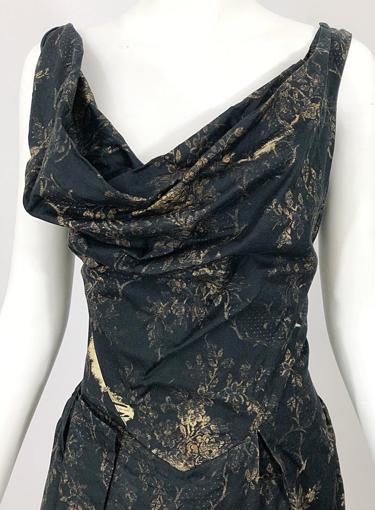 Vivienne Westwood 2000s Black + Brown Flower Print Asymmetrical Cotton Dress In Excellent Condition For Sale In Chicago, IL