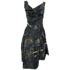 Vivienne Westwood 2000s Black + Brown Flower Print Asymmetrical Cotton Dress