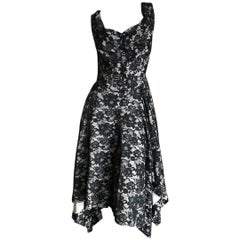 Vivienne Westwood Anglomania Black Lace Overlay Button Front Dress