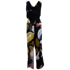 Vivienne Westwood Anglomania Black Leaf Printed Draped Tie Detail Jumpsuit S