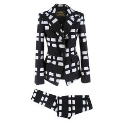 Vivienne Westwood Anglomania Black & White Printed Suit   IT40