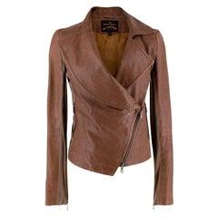 Vivienne Westwood Anglomania Brown Leather Biker Jacket - Size US6