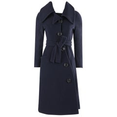 "VIVIENNE WESTWOOD ""Anglomania"" Navy Blue Asymmetric Button Up Belted Coat Jacket"