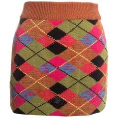 Vivienne Westwood argyle multicoloured knitted mini skirt, fw 1994