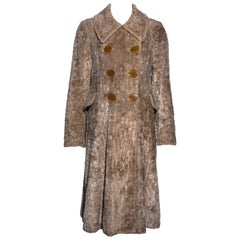Vivienne Westwood beige chenille double breasted swing coat, fw 1994