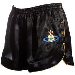 Vivienne Westwood black and gold embroidered satin mini shorts, ss 1993