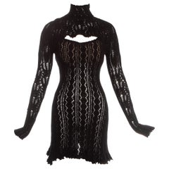 Vivienne Westwood black crochet knit corseted mini dress with cut out, fw 1993