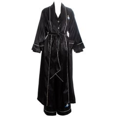 Vivienne Westwood black embroidered 3 piece pyjama suit, ss 1993