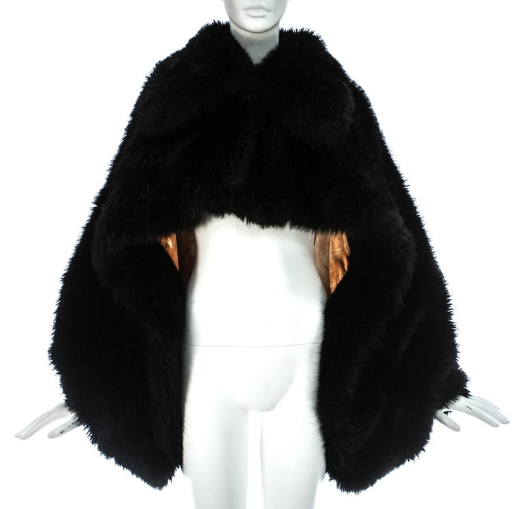 Black Vivienne Westwood black faux fur oversized cropped jacket, A/W 1993 For Sale