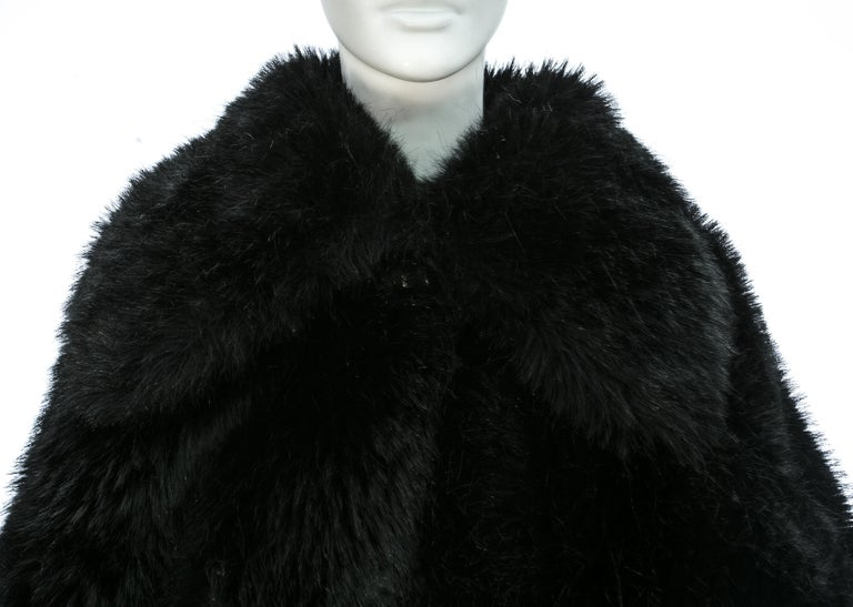 Vivienne Westwood black faux fur oversized cropped jacket, A/W 1993 In Good Condition For Sale In London, GB
