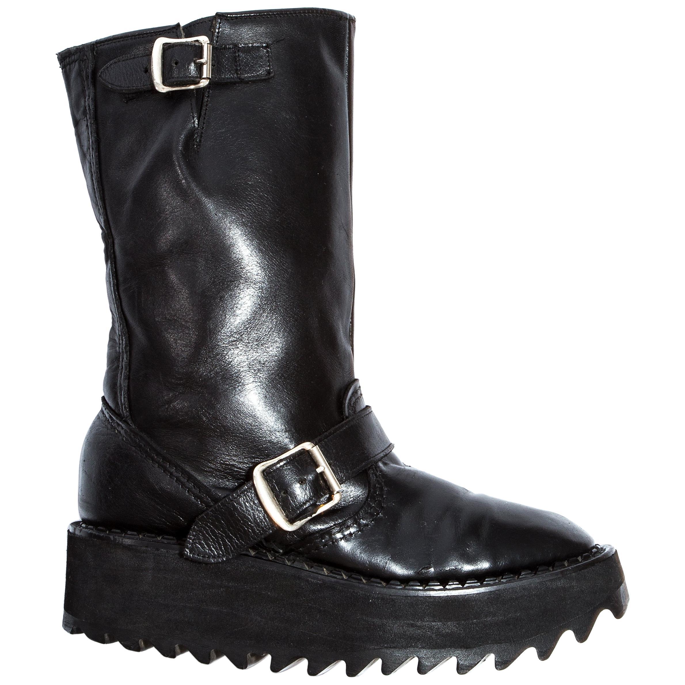 Vivienne Westwood black leather platform buckle boots, ss 1992