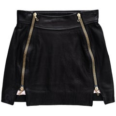 Vivienne Westwood black leather zip-up mini skirt, fw 1997