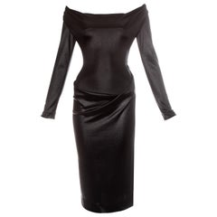 Vivienne Westwood black nylon jersey draped off shoulder evening dress, fw 1997