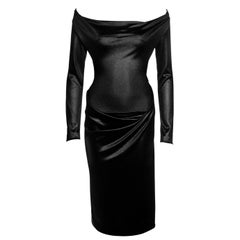 Vivienne Westwood black nylon off shoulder draped evening dress, fw 1997