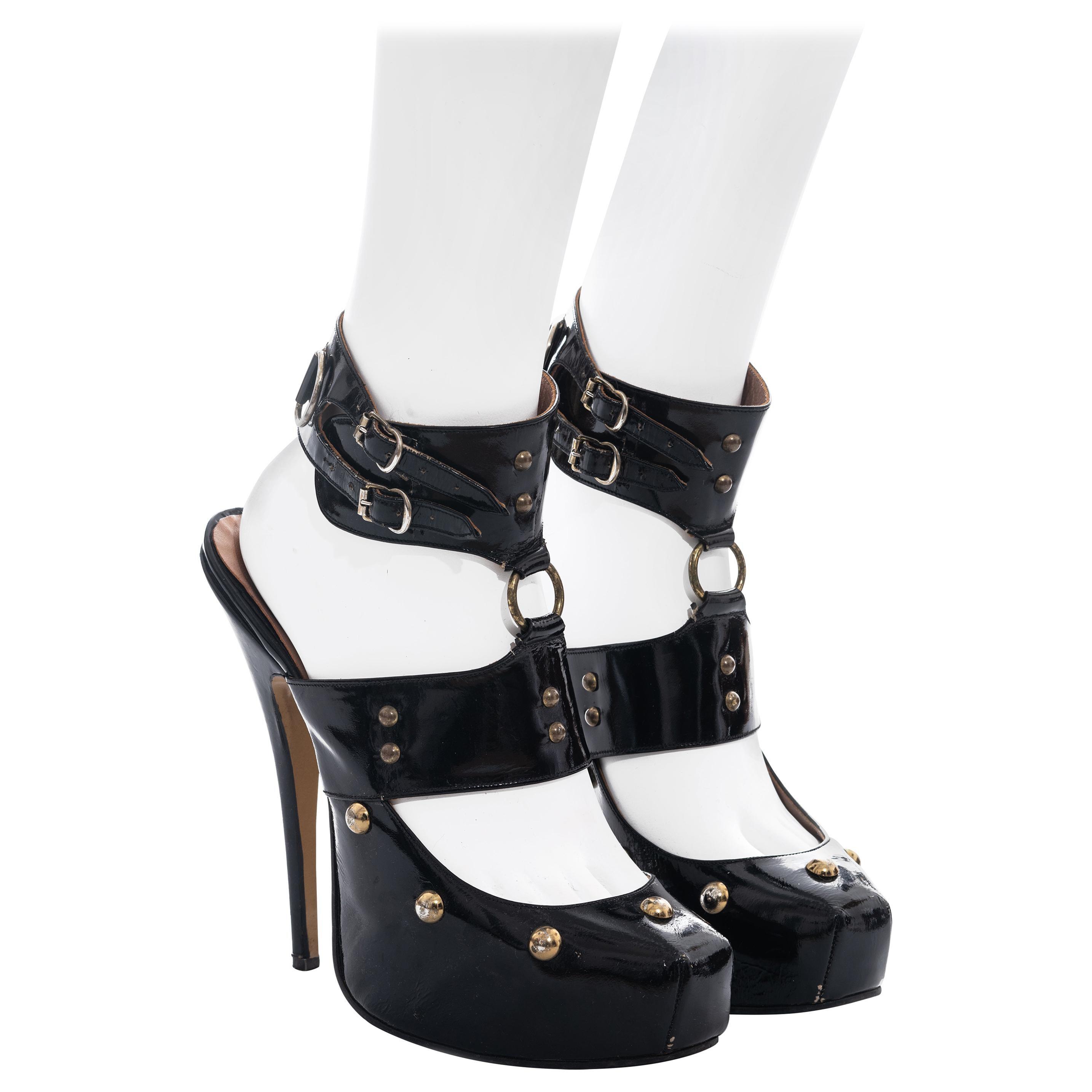 Vivienne Westwood black patent leather studded platform sandals, fw 1994
