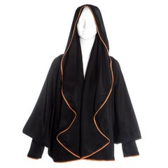 Vivienne Westwood black satin hooded bolero jacket with orange trim, ss 1993