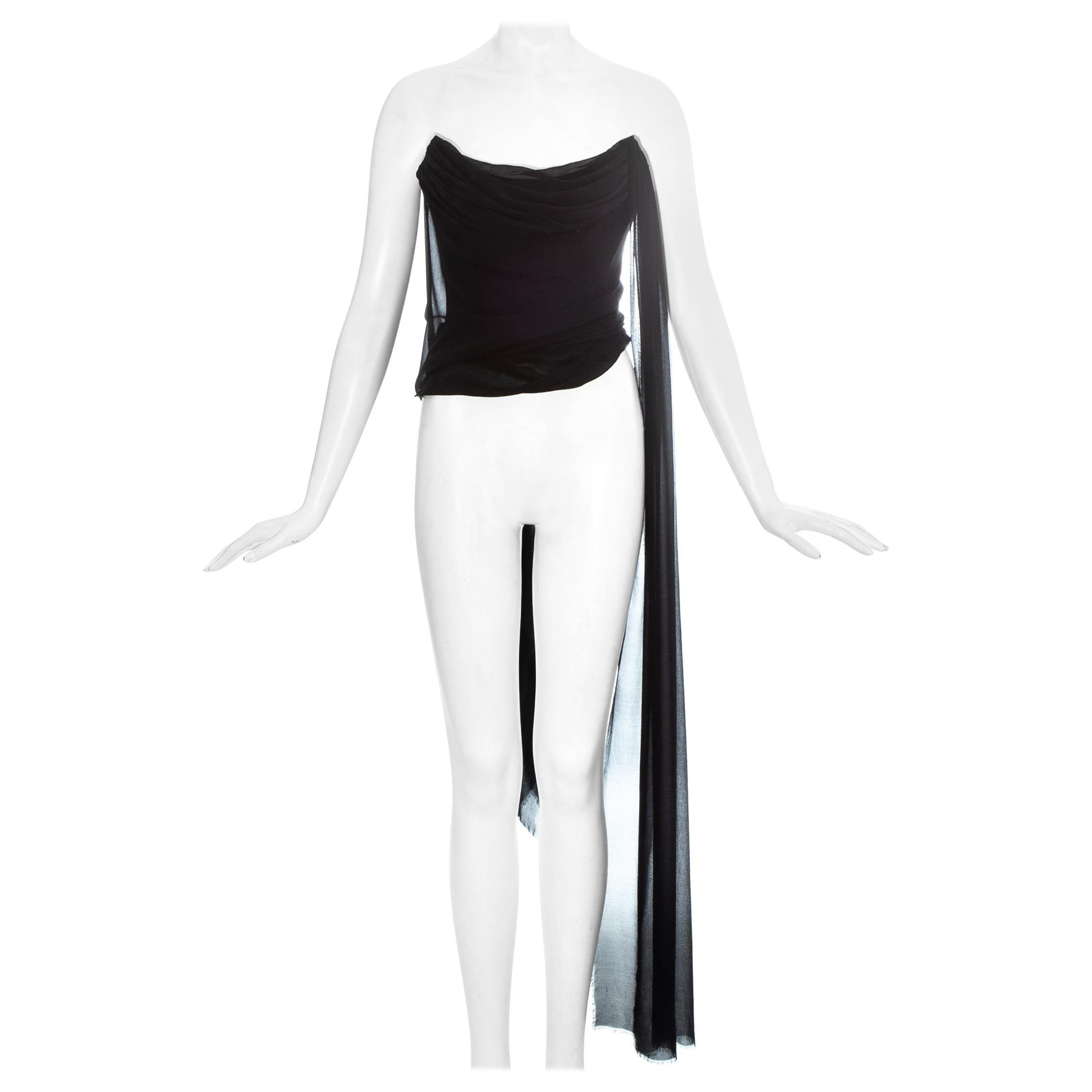 Vivienne Westwood black silk chiffon draped corset, 1990s