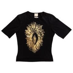 Vivienne Westwood black t-shirt with gold foil vagina print, ss 1994