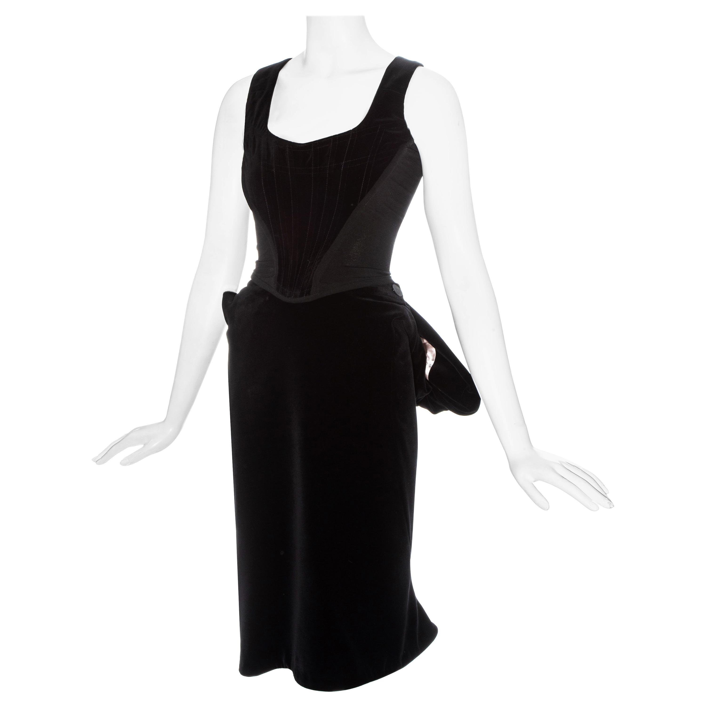 Vivienne Westwood black velvet corset and bustled skirt, fw 1996