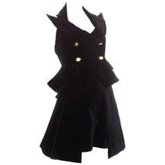 Vivienne Westwood black velvet corset and skirt set, ss 1995