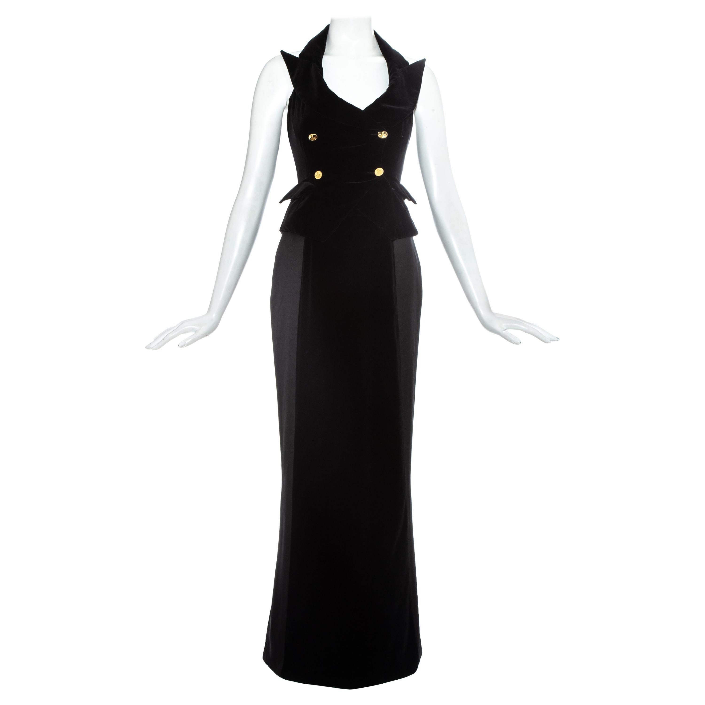 Vivienne Westwood black velvet corset waistcoat and maxi skirt, c. 1995-7