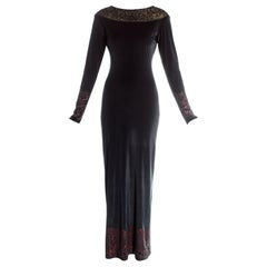 Vivienne Westwood black velvet glitter figure hugging maxi dress, fw 1991