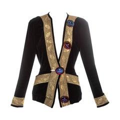 Vivienne Westwood black velvet jacket with gold brocade trim, fw 1998