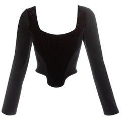 Vivienne Westwood black velvet long sleeve corset, fw 1988