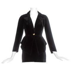 Vivienne Westwood black velvet mini skirt peplum suit, fw 1993