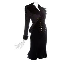 Vivienne Westwood black velvet 'Vive La Cocotte' corseted skirt suit, fw 1995