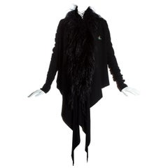 Vivienne Westwood black wool cardigan with ostrich feather trim, fw 1993