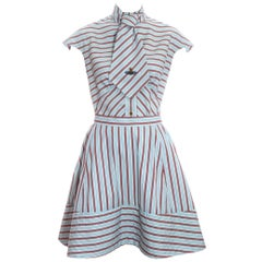 Vivienne Westwood blue and red striped skirt, blouse and tie ensemble ss 1996