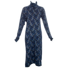Vivienne Westwood blue and white floral print roll-neck dress, fw 1996