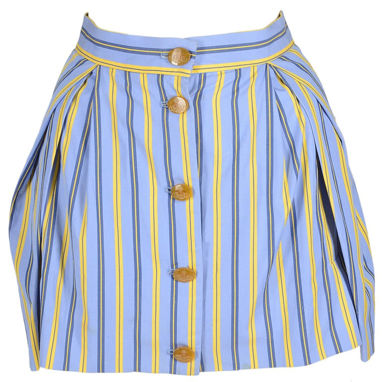 Vivienne Westwood blue and yellow cotton striped button up mini skirt