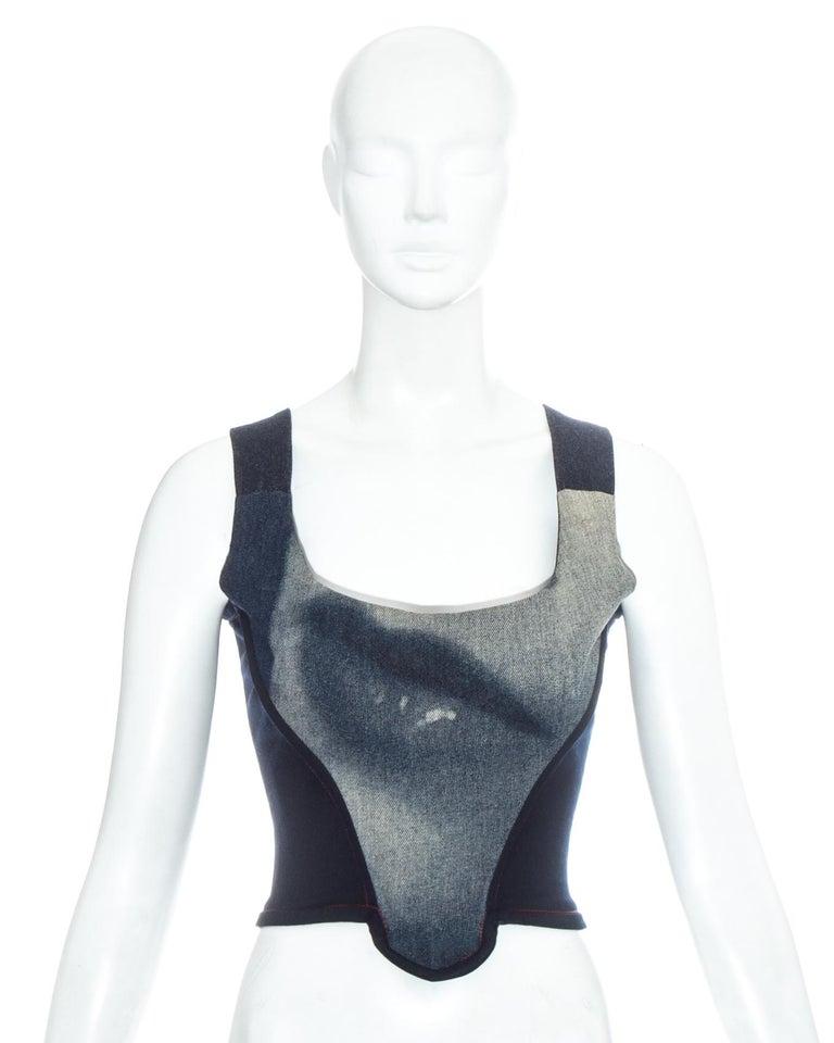 Black Vivienne Westwood blue denim 'Always on Camera' lips corset, fw 1992 For Sale