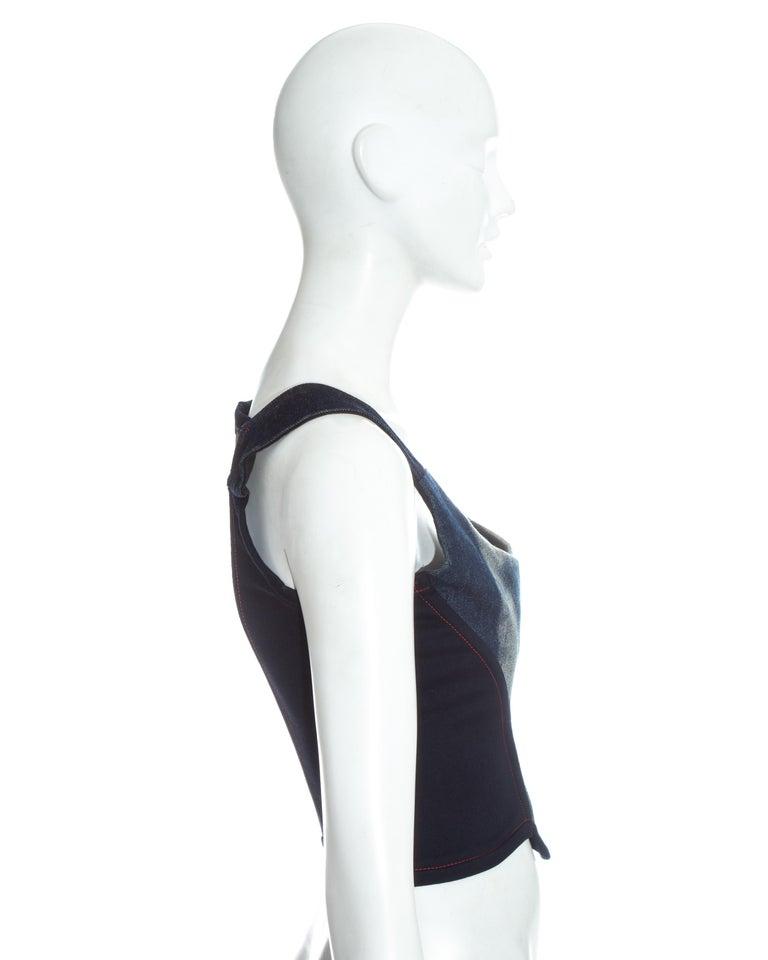 Women's Vivienne Westwood blue denim 'Always on Camera' lips corset, fw 1992 For Sale