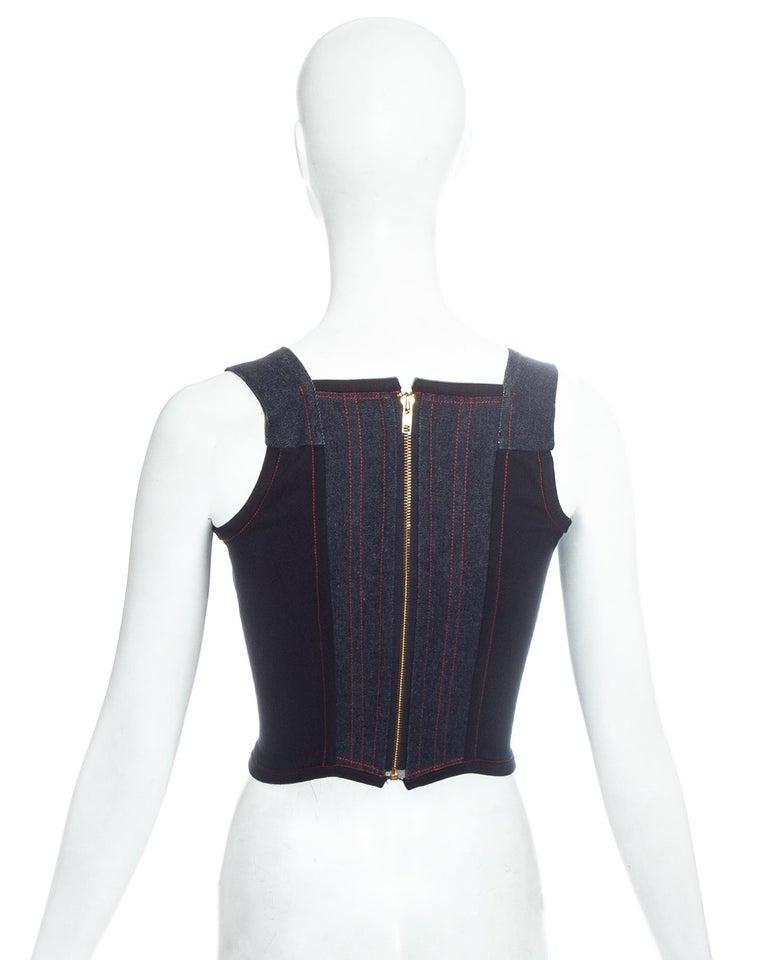 Vivienne Westwood blue denim 'Always on Camera' lips corset, fw 1992 For Sale 1